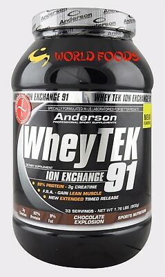 Anderson Research Whey Tek 91% Proteine Isolate 800 Gr Gusto Cacao Creatina Def