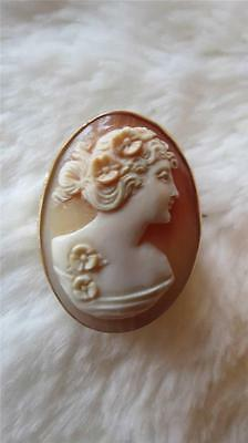 Antique 9CT Yellow Gold Chased Mount Carved Shell Cameo Brooch