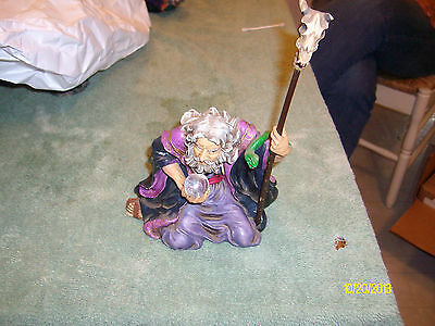 "Wizard With Staff & Crystal Ball Figurine Aprx.H 8""  to top of staff,Good Cond."