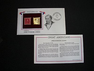 U.S. GREAT AMERICANS Mint Stamp #860 + Gold Replica of JAMES FENIMORE COOPER