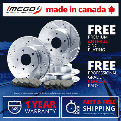 Front + Rear Kit | Silver | Slotted & Drilled Brake Rotors and FREE Ceramic Pads