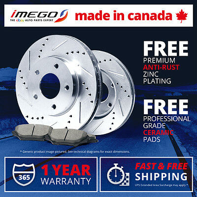 Front Kit | Silver | Slotted & Drilled Disc Brake Rotors and FREE Ceramic Pads