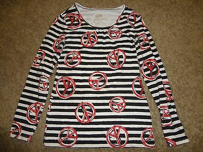 GIRLS SIZE 12 JUSTICE BLACK WHITE STRIPED TOP SHIRT WITH RED GLITTER PEACE SIGNS