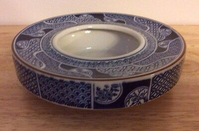 """Ikebana Floral Vase Bowl Blue And White Imari Classic 6.5"""" By Lotus In The Wind"""