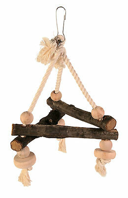 Natural Wooden Traingular Bird Swing Budgies Canaries Triangle Perch on Rope