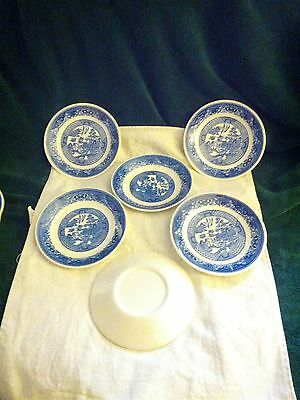 WILLOW WARE 6 1/16 INCH PLATES SET OF  ( 6 ). NEAR MINT CONDITION.