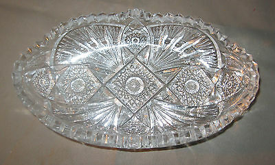 Vintage Imperial Nucut Cut Glass Saw tooth Design Bowl Celery Candy Signed