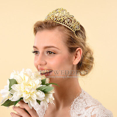 Gold Tiara Crystal Crown Wedding Party Prom Pageant Hair Jewelry Bridal HeadBand