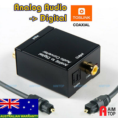 Analogue Audio to Digital Converter + Toslink Cable,R/L Stereo Analog to Optical