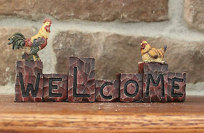 Welcome Yellow Rooster Chicken Resin Figurine Shelf sitter Barn Cock Hen Statue