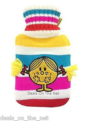 Little Miss Sunshine Hot Water Bottle, Knitted Appliqued Cover