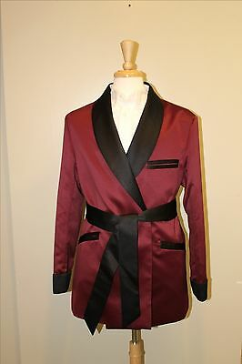 Mens Smoking Jacket- Burgundy / Black  Satin -Fully Lined