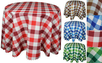 """High Quality """"GINGHAM"""" Linen Look Tablecloth: Round,Square available 4 colours"""
