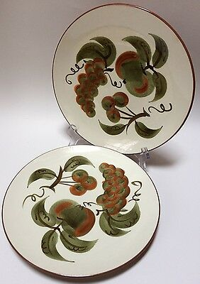 2 Stangl Orchard Song Fruits Hand Painted Dinner Plates Trenton NJ
