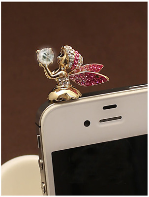 Little Gold Angel Anti Dust Plug Cover Charm for Iphone/Android 3.5mm