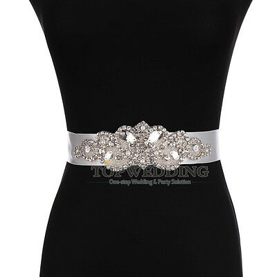 Luxurious Wedding Dress Sash Belt Crystal Belt Sash w/ Rhinestones Beaded Belt