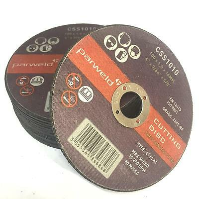 """(PACK OF 50) Parweld (4"""") 100mm x 1mm Thin stainless steel metal cutting discs"""