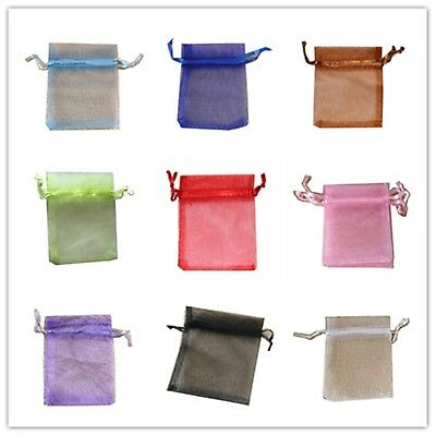 100pcs 7x9cm Organza Pouches Bags for Wedding Gifts Jewellery Packing 12 Colours