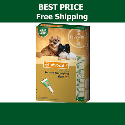 Advocate For Dogs Up To 4kg Small Dogs 3 Pack Flea and Lice Treatment exp 2019
