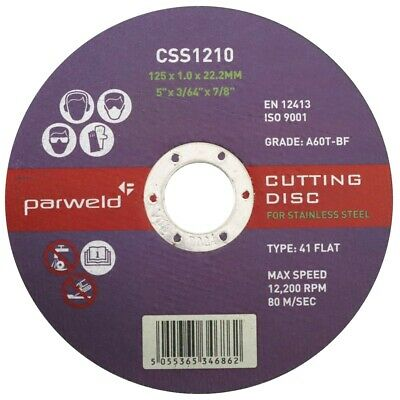 "(PACK OF 10) Parweld (5"") 125mm x 1mm Thin stainless steel metal cutting discs"