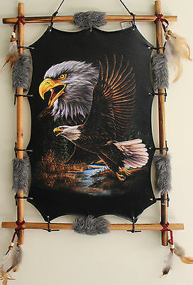 Indian Picture Eagle Dream Catcher Mandella  22 x16 beads feathers Frame