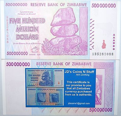 Zimbabwe 500 Million Dollars Guaranteed 2008 Ab Series W/ Coa 100% Authentic