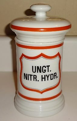 Fabulous Hand Painted Vintage Pharmacy Apothecary Covered Jar UNGT. NITR. HYDR.