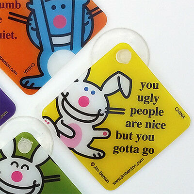 It's Happy Bunny Set 12 Window Danglers Mini Cling Sticker-Like Signs Jim Benton