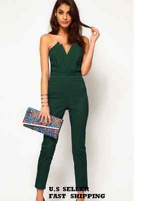 Women Vintage Clubwear Green Sexy Jumpsuits Strapless Vneck Pleated Bust S-XL