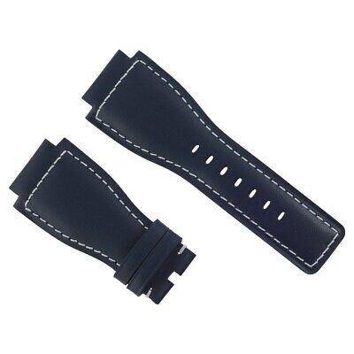 24Mm Genuine Leather Watch Strap Smooth Band For Bell & Ross Br-01-03 Blue Ws#8A