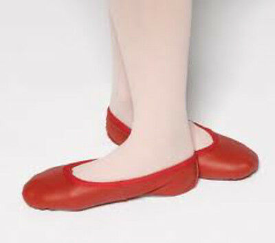 Leather Ballet Shoes split sole wedding Excellent quality NEW RED