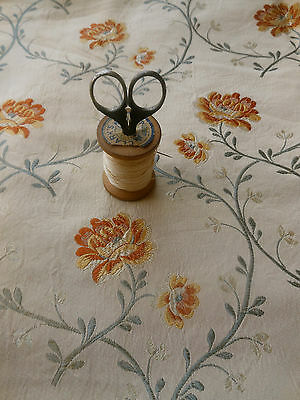 Antique Vintage French Roses Vines Brocade Fabric #1~yellow gold gray sand beige