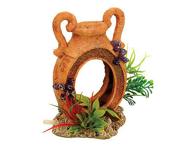 Pot With Airstone & Plants Fish Tank Bubbling Plant Pot Aquarium Cave