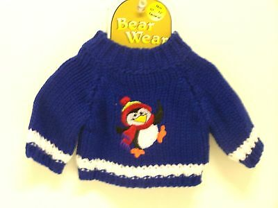 "Sweet Teddy Bear Sweater w/Penguin Fits 10"" to 12"" Bear"