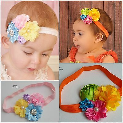 Baby Headband Headbands Flower Newborn Toddler Girl Hair Band Rainbow Party