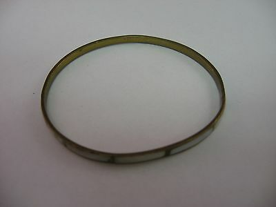Antique Vintage Mother of Pearl & Brass Bangle Bracelet Womans Jewelry
