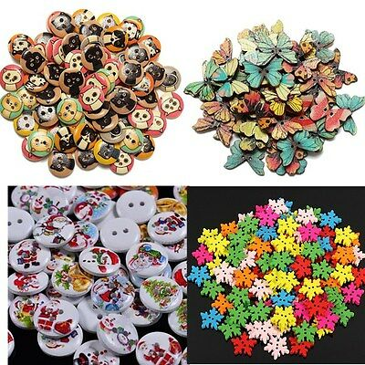 25-100X Christmas Xmas Wooden Buttons Sewing Craft Scrapbook Cardmaking 2 Holes