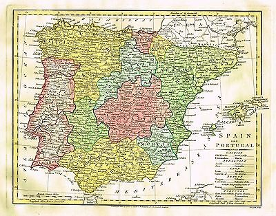 """Wilkinson Map - """"SPAIN and PORTUGAL""""  -  Hand-Colored Engraving - 1808"""