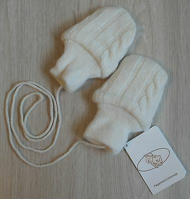 Brand New 100% Natural Merino Wool Knitted Soft Mittens, Gloves For Baby