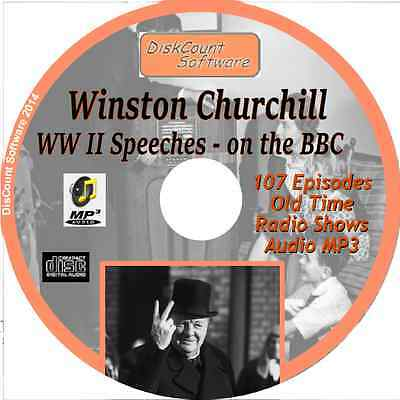 Winston Churchill- 107 WW II Speeches - BBC Old Time Radio Shows - Audio MP3 CD