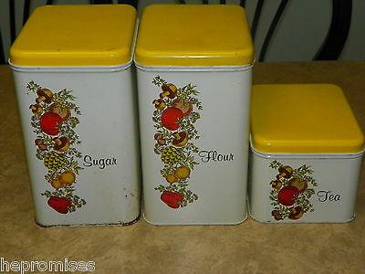 Vintage Cheinco Metal Vegetable Canisters - Set of 3