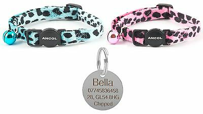 ANCOL Cat Collar Leopard Print Quick Release, Free Engraved Nickel ID Tag & P&P