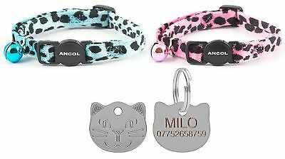 ANCOL Cat Collar Leopard Print Quick Release With Free Engraved Cat ID Tag & P&P
