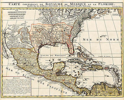 HJB-Antique Maps: North & Central America By: H. Chatelain 1719