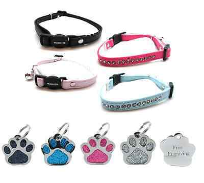 ANCOL Cat Collar Deluxe Jewel Quick Release With Free Engraved Paw ID Tag & P&P