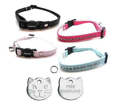 ANCOL Cat Collar Deluxe Jewel Quick Release With Free Engraved Cat ID Tag & P&P
