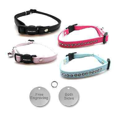 ANCOL Cat Collar Deluxe Jewel Quick Release, Free Engraved Nickel ID Tag & P&P