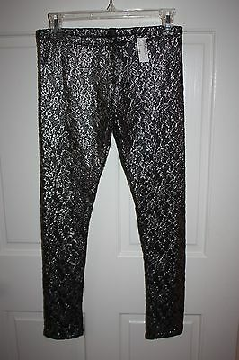 NWT Girls The Childrens Place Metallic Silver Leggings Pants Size XL / 14