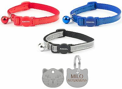 ANCOL Cat Collar Reflective Gloss Quick Release, Free Engraved Cat ID Tag & P&P