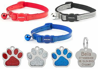 ANCOL Cat Collar Reflective Gloss, Quick Release, Free Engraved Paw ID Tag & P&P